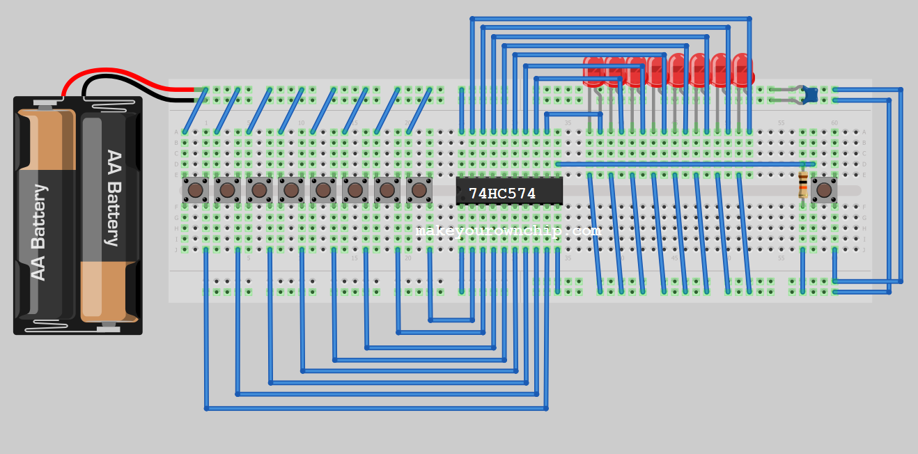 74hc574 Octal D Flip Flop Nand Gate Circuit Diagram On Dflip Breadboard Prototype Showing Typical Wire Of