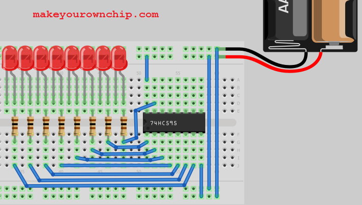 Breadboard image showing primary connection of the 74HC595 Shift Register